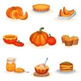 鲜美南瓜盘设置了,饼,汤,果酱瓶子,松饼,粥,薄煎饼在白色背景的传染媒介例证 皇族释放例证