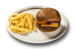 鲜美和开胃汉堡包乳酪汉堡猪肉用烟肉 库存照片
