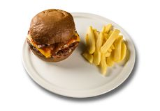 鲜美和开胃汉堡包乳酪汉堡猪肉用烟肉 免版税图库摄影