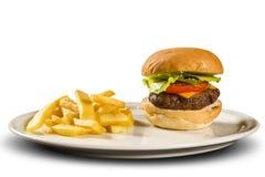 鲜美和开胃汉堡包乳酪汉堡用沙拉 免版税图库摄影