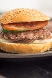 鲜美和开胃汉堡包乳酪汉堡 免版税库存图片