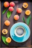 鲜美咖啡和李子 图库摄影