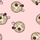 鲜美咖啡饮料用桂香和被鞭打的奶油色逗人喜爱的动画片无缝的样式 纹理背景瓦片 皇族释放例证