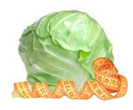 鲜美圆白菜和在白色隔绝的措施磁带 免版税库存图片