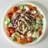 鲜美在一块大塑料板材的金枪鱼菜沙拉 库存照片