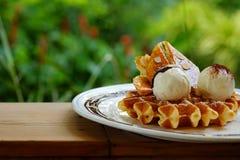 鲜美奶蛋烘饼和香草冰淇淋集合服务与香蕉糖涂层冠上用在白色板材的巧克力汁在绿色庭院里 免版税库存照片