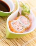 鲜美寿司用酱油 免版税图库摄影