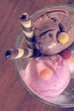 鲜美巧克力、香草和草莓三重奏调味了在一个碗有两薄酥饼秸杆的,巴厘岛的冷冻甜点 免版税库存图片