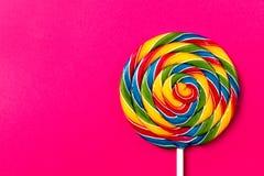 鲜美开胃在P的党辅助甜漩涡糖果Lollypop 免版税库存图片