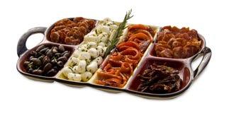 鲜美开胃小菜的盛肉盘 库存照片
