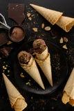 鲜美开胃巧克力冰淇凌用薄菏和开心果 免版税库存图片