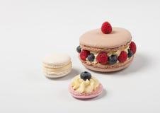 鲜美开胃macaron ispahan用新鲜的莓果莓越桔 库存照片