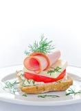 鲜美微型火腿三明治 免版税库存图片