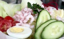 鲜美新鲜的蔬菜沙拉的虾 免版税库存照片