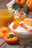 鲜美杏子酸奶和新鲜的汁液特写镜头在桌上 免版税图库摄影
