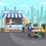 鲜美杯形蛋糕小商店平的传染媒介例证 皇族释放例证