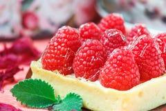 鲜美杯形蛋糕用用在桃红色背景的薄荷的叶子装饰的莓 免版税图库摄影