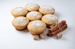 鲜美松饼结块用肉桂条 免版税库存照片