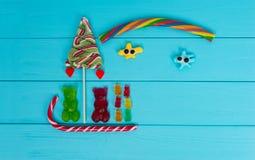 鲜美果冻糖果的快乐的图片以熊sl的形式 免版税库存照片