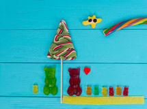 鲜美果冻糖果的快乐的图片以的熊的形式 免版税库存图片