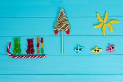 鲜美果冻糖果的滑稽的图片以熊sledg的形式 免版税库存图片