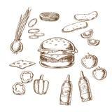 鲜美汉堡剪影与许多成份的 向量例证