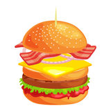 鲜美汉堡烤了牛肉和新鲜蔬菜穿戴用在小圆面包的调味汁快餐或午餐的,古典的汉堡包 库存照片