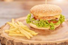 鲜美汉堡用肉和菜 库存照片