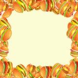 从鲜美汉堡的框架烤了牛肉和新鲜蔬菜穿戴用快餐的,美国汉堡包快餐调味汁小圆面包 向量例证