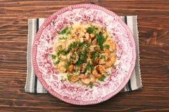 鲜美烤被轰击的桃红色虾 库存图片