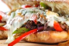 鲜美牛排三明治用葱、蘑菇和熔化普罗卧干酪乳酪 图库摄影