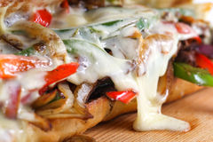 鲜美牛排三明治用葱、蘑菇和熔化普罗卧干酪乳酪 免版税图库摄影