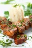 鲜美猪肉的米 库存图片