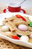 鲜美瓷厨师可口食物葱的主街上 免版税图库摄影