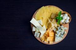 鲜美的开胃菜 干酪牌照 库存照片