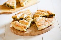 鲜美自创希腊菠菜饼 免版税库存图片