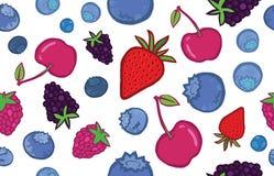 鲜美莓果无缝的样式 向量例证