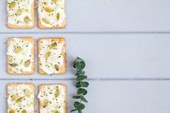 鲜美薄脆饼干用乳脂干酪、种子和绿色 在灰色桌上的开胃菜 健康快餐,顶视图,平的位置 免版税库存照片