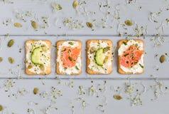 鲜美薄脆饼干用乳脂干酪,菜,鱼 在灰色桌上的开胃菜 健康快餐,顶视图,平的位置 免版税库存图片