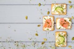 鲜美薄脆饼干用乳脂干酪,菜,鱼 在灰色桌上的开胃菜 健康快餐,顶视图,平的位置 库存照片