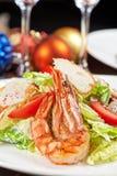 鲜美虾沙拉 库存照片