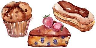 鲜美蛋糕和小圆面包甜点心 r r 向量例证