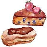 鲜美蛋糕和小圆面包甜点心 r r 皇族释放例证