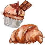 鲜美蛋糕和小圆面包甜点心 r r 库存例证