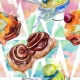 鲜美蛋糕和小圆面包甜点心 r E 向量例证