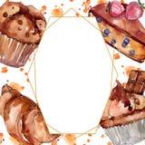 鲜美蛋糕和小圆面包甜点心 r E 库存例证