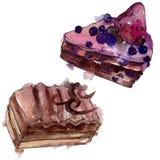 鲜美蛋糕用在水彩样式的果子被隔绝的 水彩画甜点心 背景例证集合 向量例证