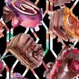 鲜美蛋糕用在水彩样式的果子被隔绝的 被设计的点心例证甜鲜美 无缝的背景模式 库存例证