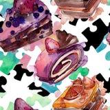 鲜美蛋糕用在水彩样式的果子 被设计的点心例证甜鲜美 无缝的背景模式 库存例证