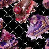 鲜美蛋糕用在水彩样式的果子 被设计的点心例证甜鲜美 无缝的背景模式 向量例证